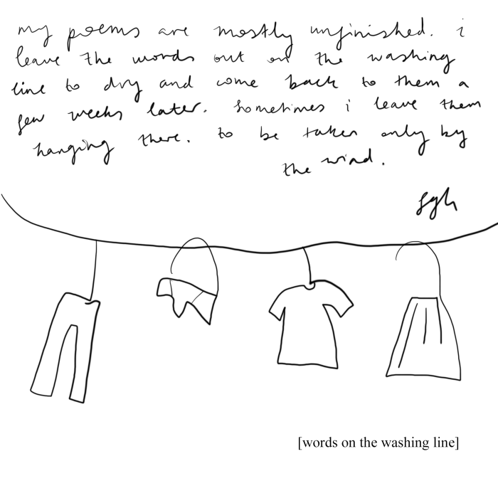 words on the washing line